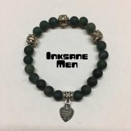 Mannen Armband Natuursteen - 8mm Mos Agaat Mat/Zilverkleur/Groen