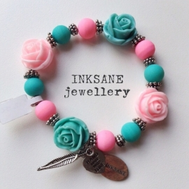 Roos Armband - Turquoise/Roze (Licht)