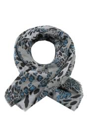 Sjaal Panter - Wit/Zwart/Turquoise