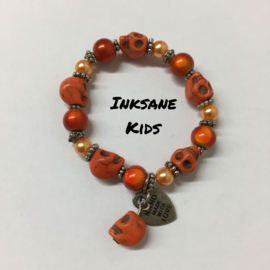 Kinder Armband Doodshoofd - Oranje