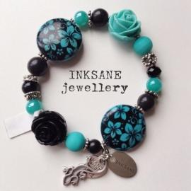 Roos/Keramiek Kraal Armband - Turquoise/Zwart