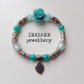 Roos/Metaal Armband - Turquoise