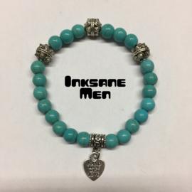 Mannen Armband Natuursteen - 8mm Howlite/Zilverkleur/Turquoise