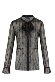 C&S Blouse - Donkerblauw/Camel/Zilver