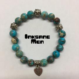 Mannen Armband Natuursteen - 10mm Howlite/Zilverkleur/Turquoise