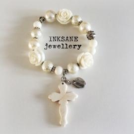 Ibiza Look Armband met Kruis - Wit/Zilverkleur