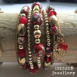 Wikkel Armband - Rood/Goudkleur