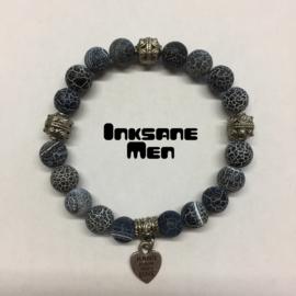 Mannen Armband Natuursteen - 10mm Spinnenweb Agaat/Zilverkleur/Blauw