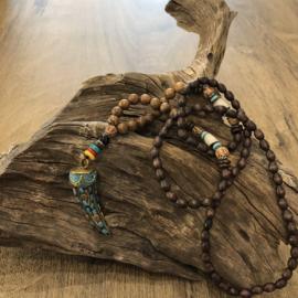 Tand Ketting -  Bruin/Turquoise/Goudkleur