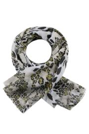 Sjaal Panter - Wit/Zwart/Okergeel