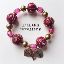 Kashmiri Armband - Roze (Donker)/Goudkleur