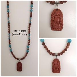 Boeddha/Buddha Ketting - Bruin/Turquoise/Zilverkleur