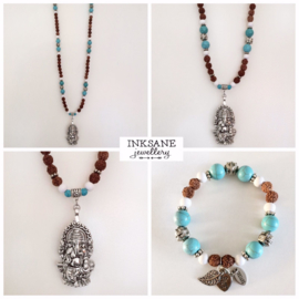 Ganesha Ketting met Armband - Bruin/Turquoise/Zilverkleur