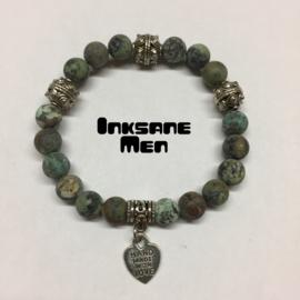 Mannen Armband Natuursteen - 8mm African Turkoois/Zilverkleur/Groen