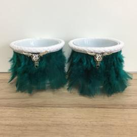 Boho Lights - Waxinekaarshouders Veren met Stierenkop - Turquoise/Zilverkleur
