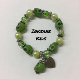 Kinder Armband Doodshoofd - Groen