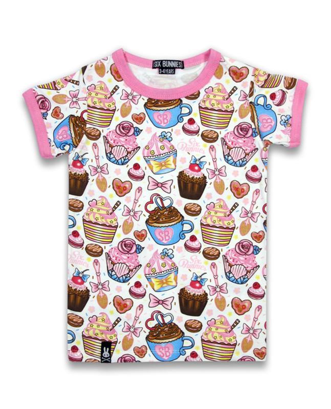 T-shirt Unisex Cupcake - Wit/Meerkleurig