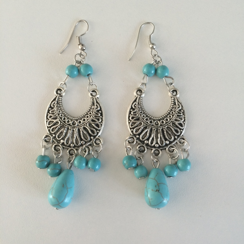 Ibiza Look Oorbellen - Turquoise/Zilverkleur