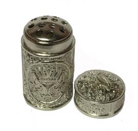 Zilverkleurige metalen kruiden inhaler  snuifpotje
