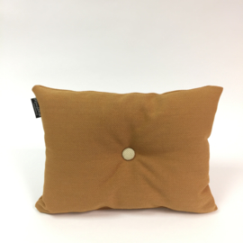 Knopen kussen - bruin/oranje
