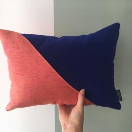Puzzelkussen - Roze/cobaltblauw