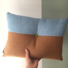 Puzzelkussen - Oranje/licht blauw