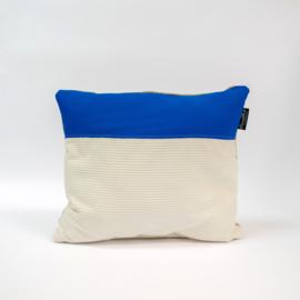 Puzzelkussen - Blauw/wit