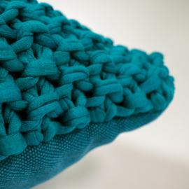 Hoooked kussen - turquoise
