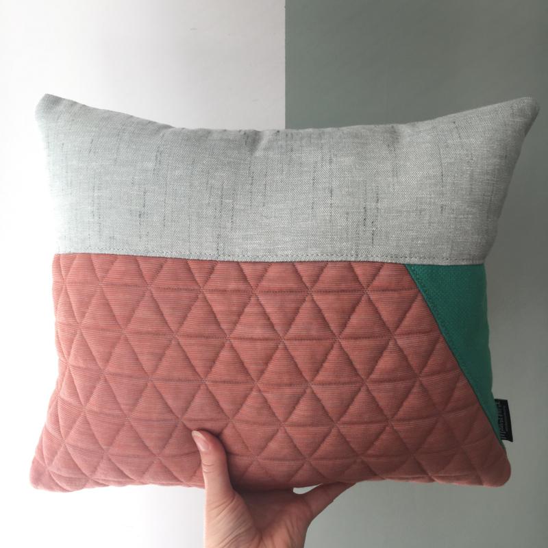 Puzzelkussen - Roze/mint