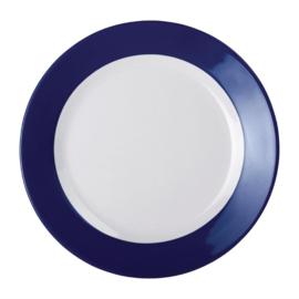 Kristallon Gala melamine borden met blauwe rand 19,5cm
