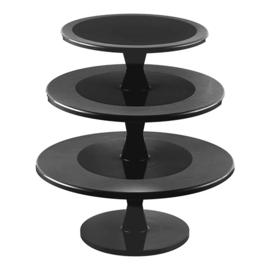 Taartstandaard met draaivoet - 3 étages - zwart