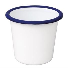Emaille sauspotje wit en blauw 11,4cl