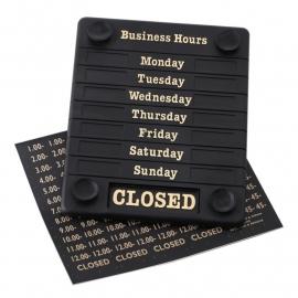 Deurbord Open Closed met openingstijden