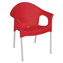 Stapelbare rode stoelen met armleuning per 4 stuks