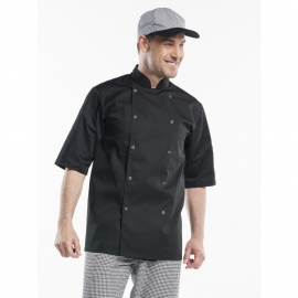 Chaud Devant Hilton Chef jacket ZWART korte mouw