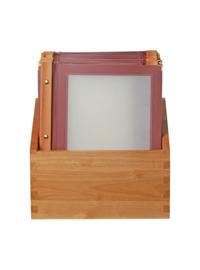 Securit menumappen set met houten box A4 wijnrood