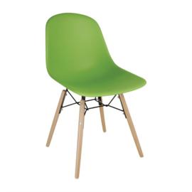 Bolero polypropyleen stoelen met houten poten groen