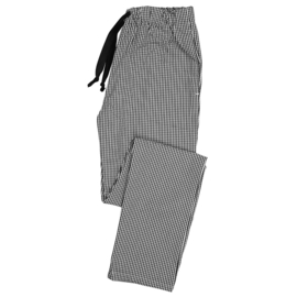 Essential broek met elastische taille zwart/wit ruit