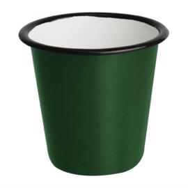 Emaille sauspotje groen en zwart 11,4cl