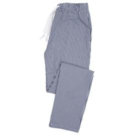 Essential broek met elastische taille blauw/wit ruit
