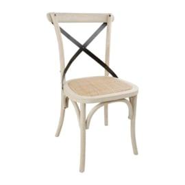 Bolero houten stoel met gekruiste rugleuning ecru 2 stuks