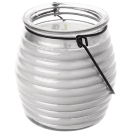 kaarsen in bijenkorfglas helder