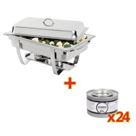 SPECIALE AANBIEDING Olympia Milan Chafing Dish met x24 Olympia brandpasta gel