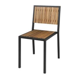 Bolero stalen en acaciahouten stoelen zonder armleuningen