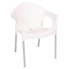 Bolero stapelbare witte stoelen met armleuning