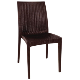 Bolero kunststof rotan stoel zonder armleuning bruin