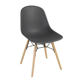 Bolero polypropyleen stoelen met houten poten grijs