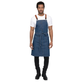 Chef Works Urban Berkeley Denim schort met bretels middenblauw