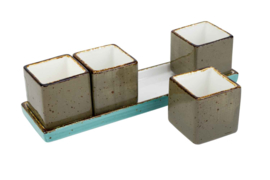 BRISBANE MIX APEROSET 5-DLG 23,5X6,5XH6 1 X 23.5X6.5CM - 4 X 5X5XH5.5CM