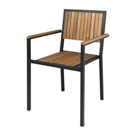 Bolero stalen en acaciahouten stoelen met armleuningen